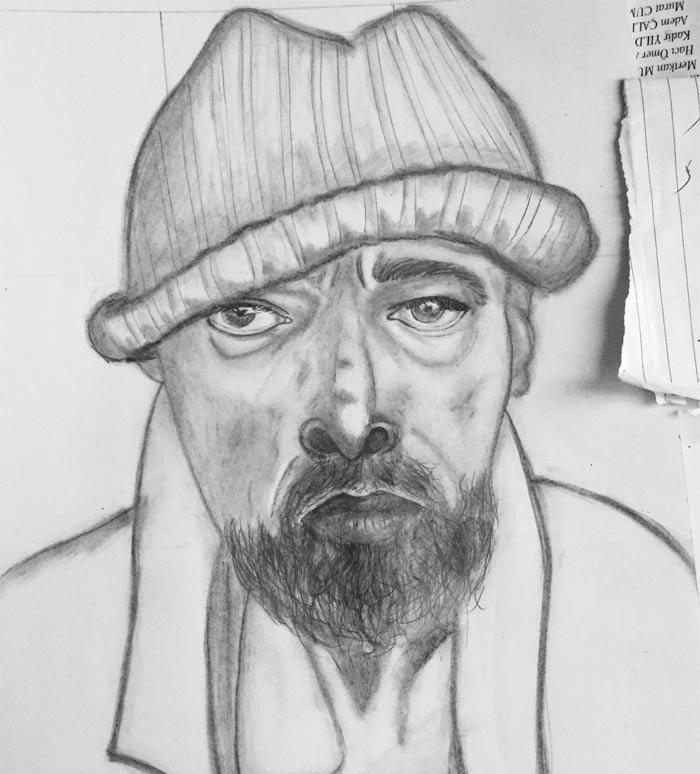 Portrait drawing by Raya Modhfer