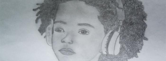 Portrait drawing by Shannon Poeketie
