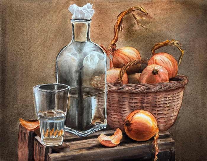 Still life with onion bulbs