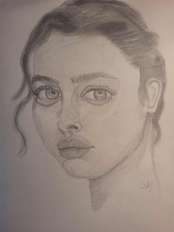 Three-quarters portrait drawing critique